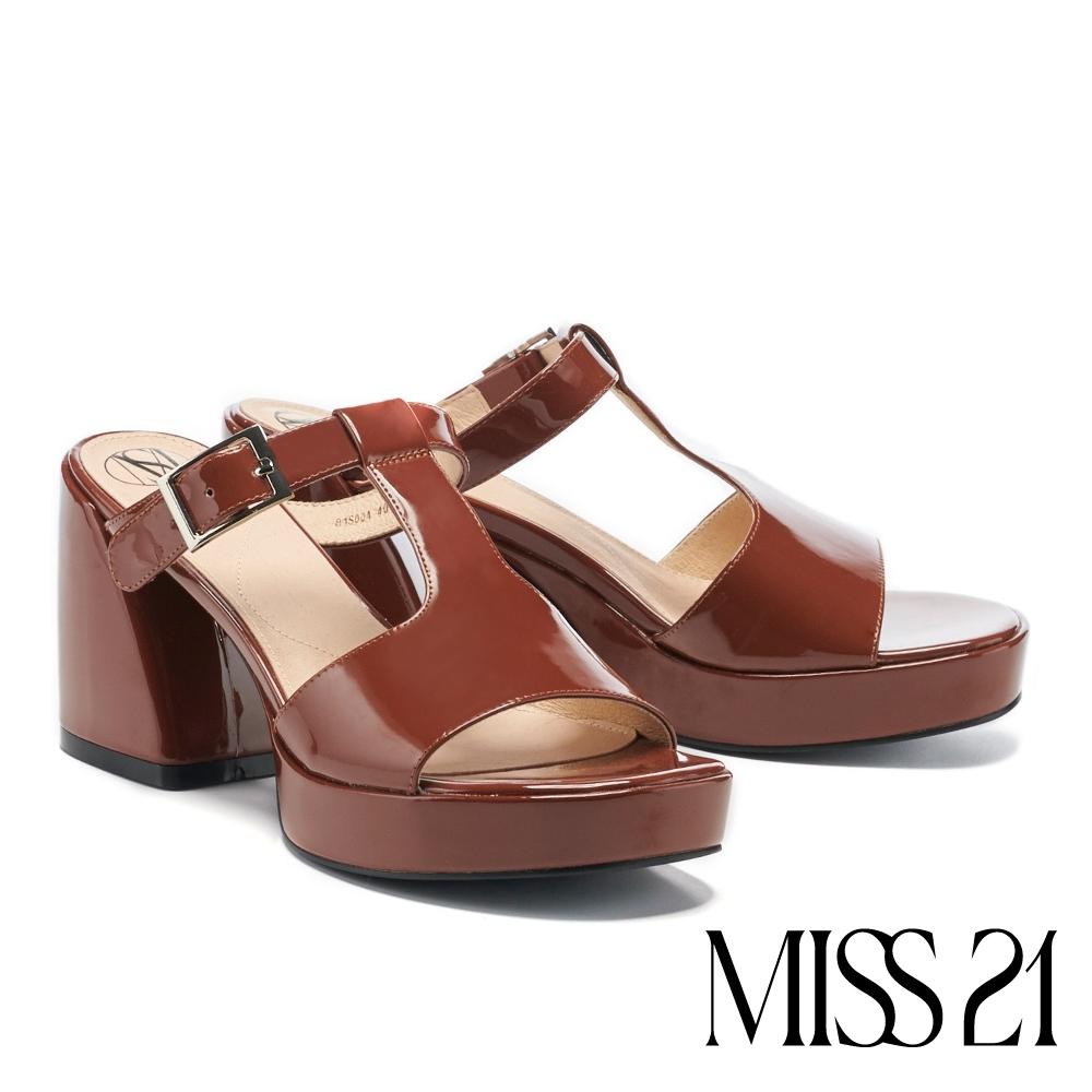 拖鞋 MISS 21 甜酷復古工字帶漆皮胖胖粗高跟拖鞋-棕