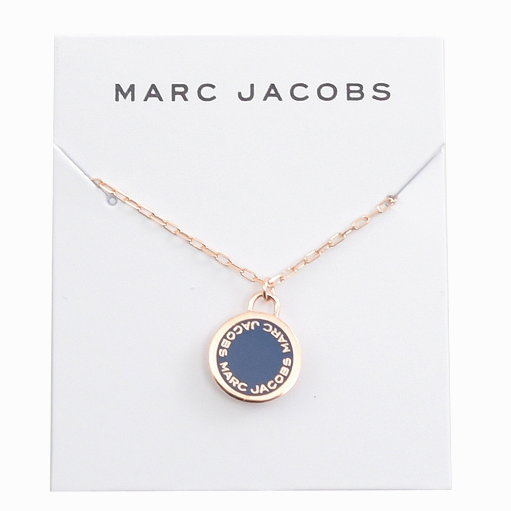 MARC JACOBS 圓牌LOGO垂墜玫瑰金色項鍊(藍色)