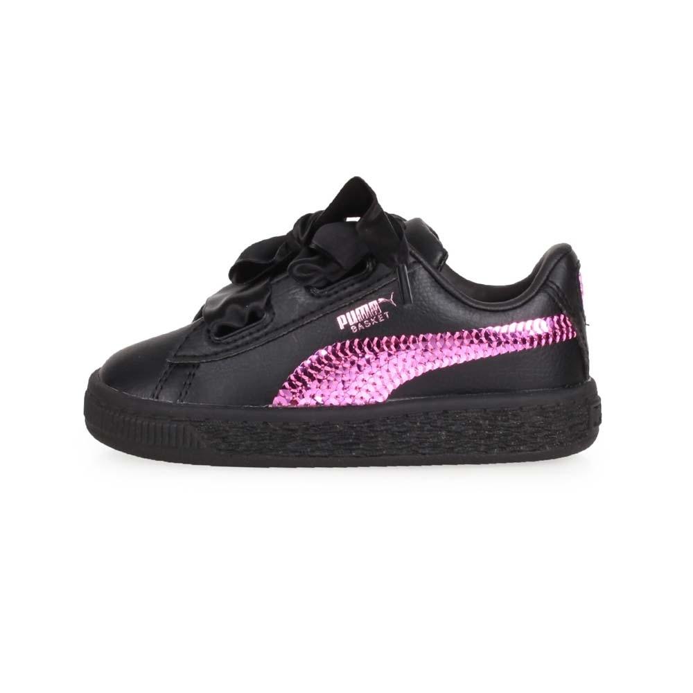 PUMA 兒童休閒運動鞋 Basket Heart Bling Inf 黑紫