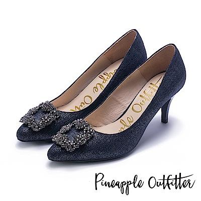 Pineapple Outfitter 璀璨名媛 方鑽飾釦尖頭高跟鞋-丹寧