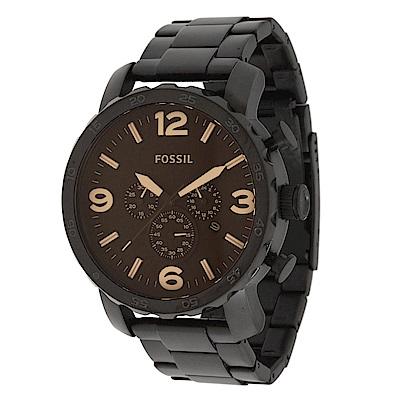 FOSSIL 捍衛者三眼計時不鏽鋼腕錶(JR1356)-深咖啡鋼x深咖啡/50mm