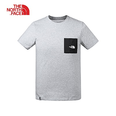 The North Face北面男款淺灰色吸濕排汗短袖T恤|3V3TDYX