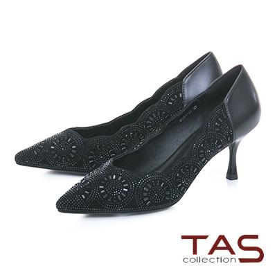 TAS水鑽波浪曲線麂皮拼接尖頭高跟鞋-低調黑