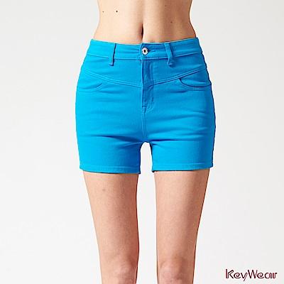 KeyWear奇威名品    時尚休閒棉短褲-藍色