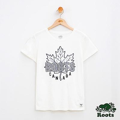 女裝Roots 立體楓葉刺繡短袖T恤-白