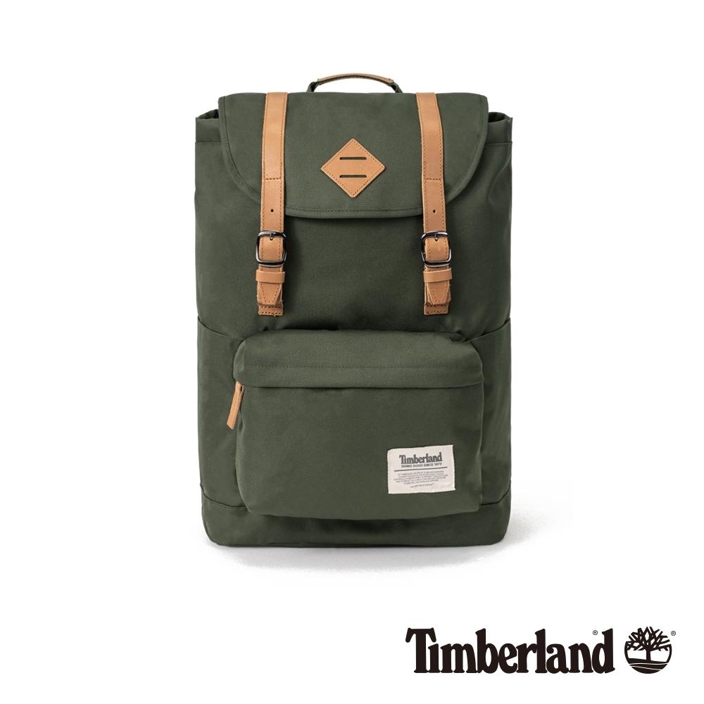 Timberland 中性森林綠戶外休閒翻蓋式後背包|A1D1T