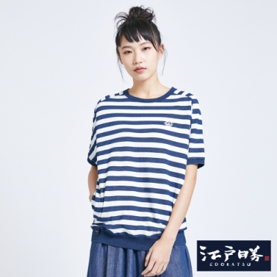 EDO KATSU江戶勝 INDIGO剪接條紋 寬版短袖T恤-女-酵洗藍