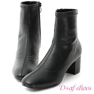 D+AF 秋冬定番.簡約素面方頭中跟短靴*黑