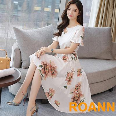 圓領拼接荷葉邊大擺洋裝 (白花)-ROANN