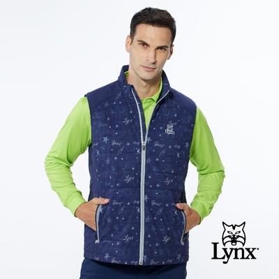 【Lynx Golf】男款吸排功能滿版星空印花鋪棉內刷毛無袖背心-深藍色