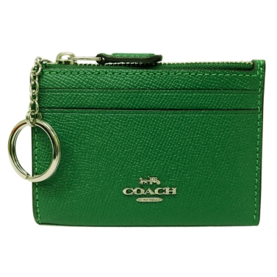 COACH 新款悠遊卡鑰匙零錢包(全皮-葉綠)
