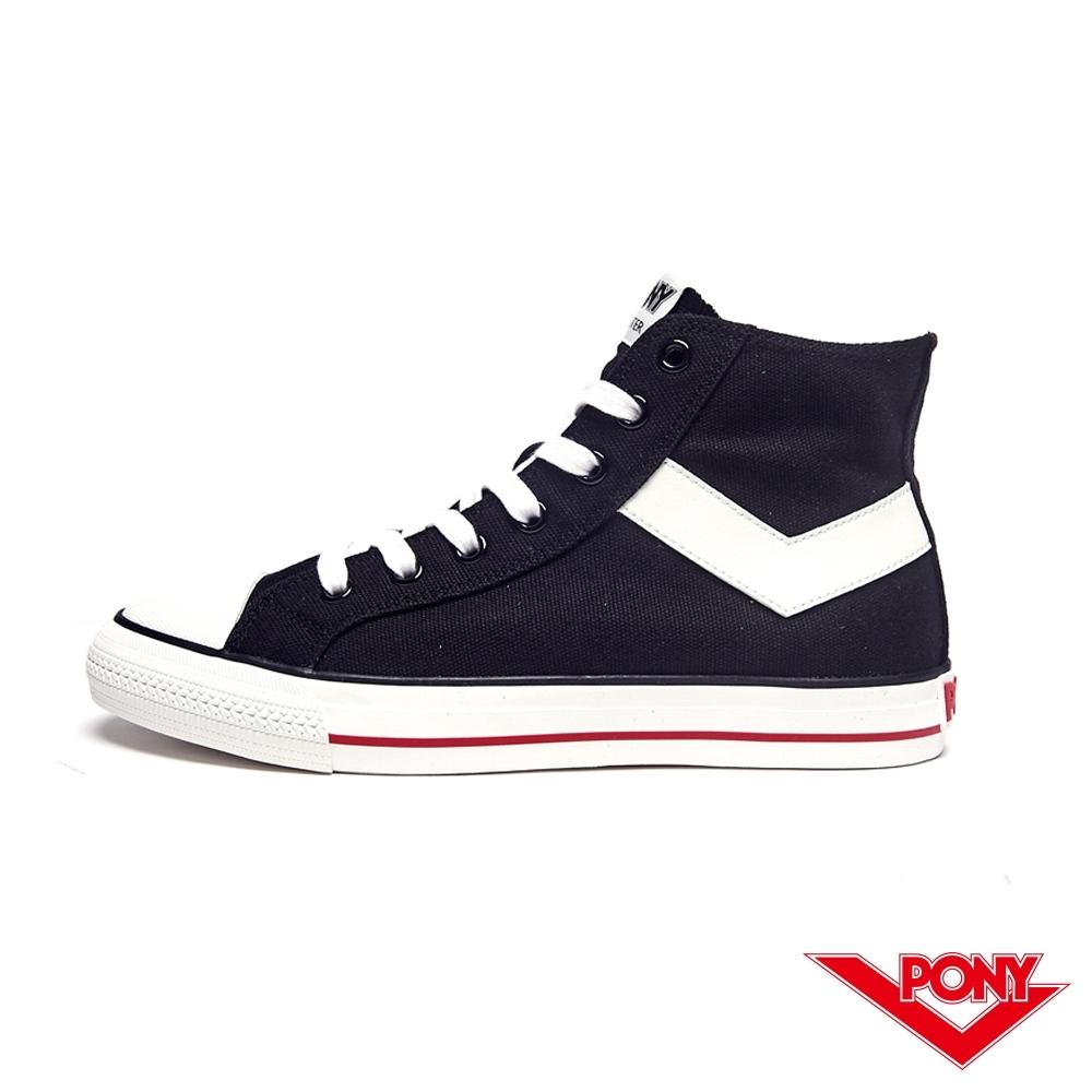 【PONY】Shooter系列經典復古高筒帆布鞋-男-黑色