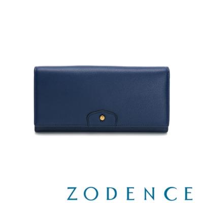 ZODENCE CUFF進口牛皮袖釦設計雙層長夾 藍色