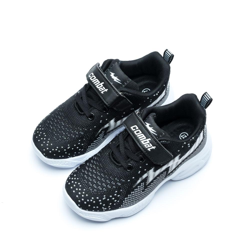 艾樂跑Combat童鞋 魔鬼氈飛織運動鞋-黑/粉 (TD-6281)