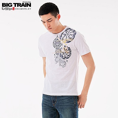 BigTrain輪柄飛鶴圓領短袖T-男-白色