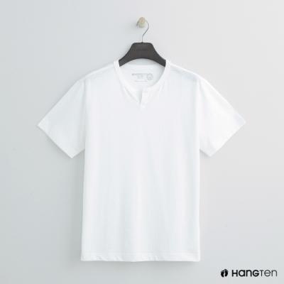 Hang Ten - 男裝 - 有機棉-簡約小開襟T桖 - 白