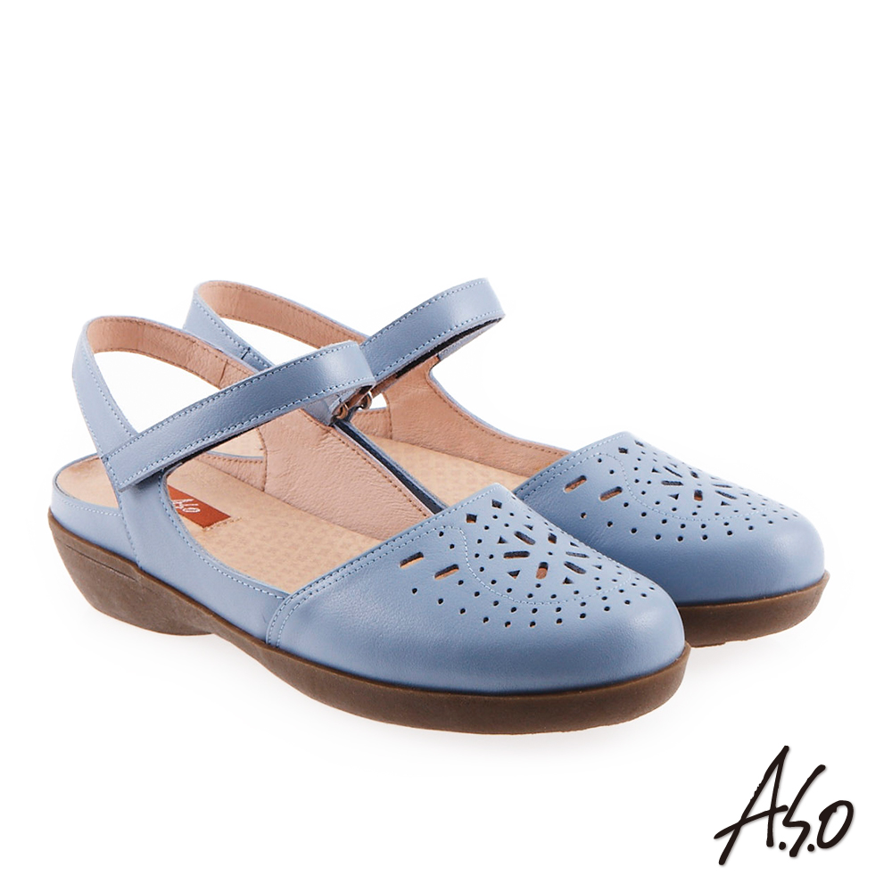 A.S.O 氣質婉麗 全真皮雕花魔鬼氈休閒鞋 淺藍