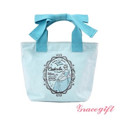 Disney collection by gracegift仙杜瑞拉蝴蝶結帆布袋 藍