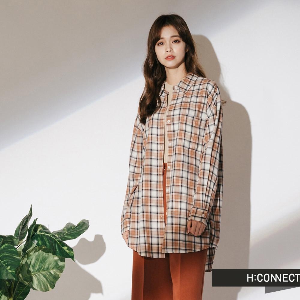 H:CONNECT 韓國品牌 女裝-復古配色格子襯衫-棕