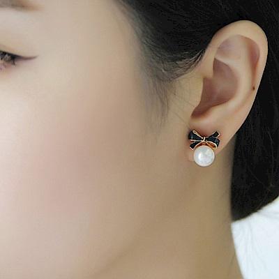 梨花HaNA 禮物季節蝴蝶結小巧珍珠耳環夾式