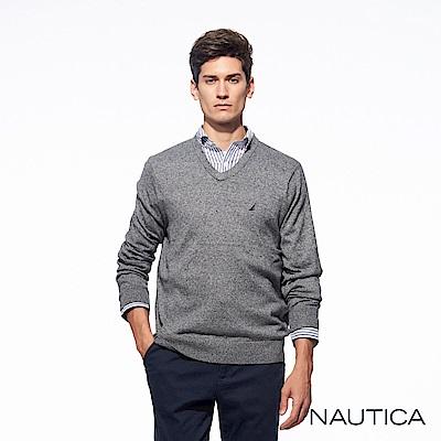 Nautica經典款V領長袖恆溫針織衫-麻花藍