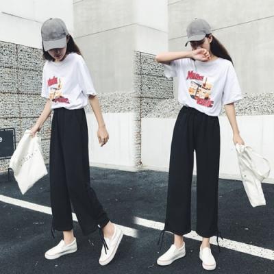 【韓國K.W.】(預購)輕柔活力宣言綁帶束口褲-1色