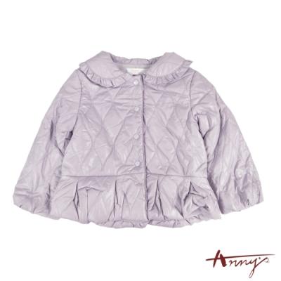 Annys可愛喜氣荷葉邊刷毛鋪棉厚外套*1284紫