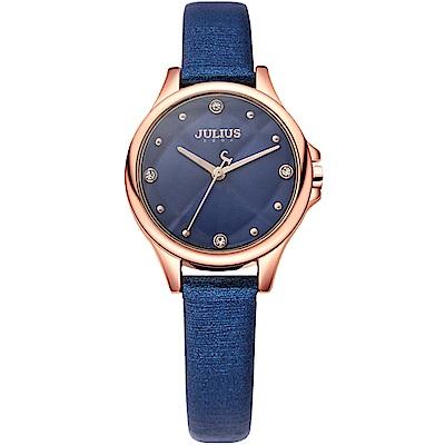 JULIUS聚利時 祕密花園菱格紋髮絲紋皮錶帶腕錶-深藍/28mm