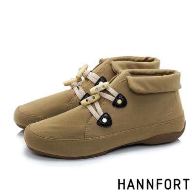 HANNFORT RIPPLE  翻領橄欖扣防風短靴-女-卡其