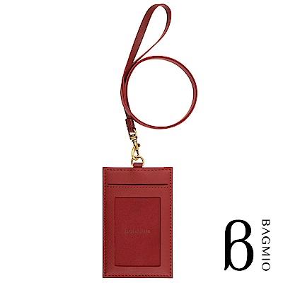 BAGMIO authentic 人字紋牛皮3卡直式證件套 酒紅 附皮背帶