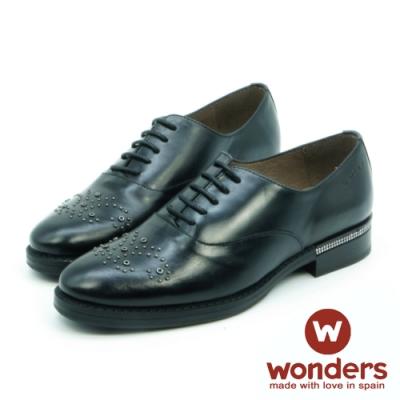 WONDERS-帥氣立體鉚釘蝴蝶造型綁帶牛津鞋-黑色