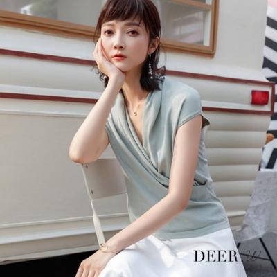 DEER.W 交叉領半袖冰絲針織上衣(灰綠)