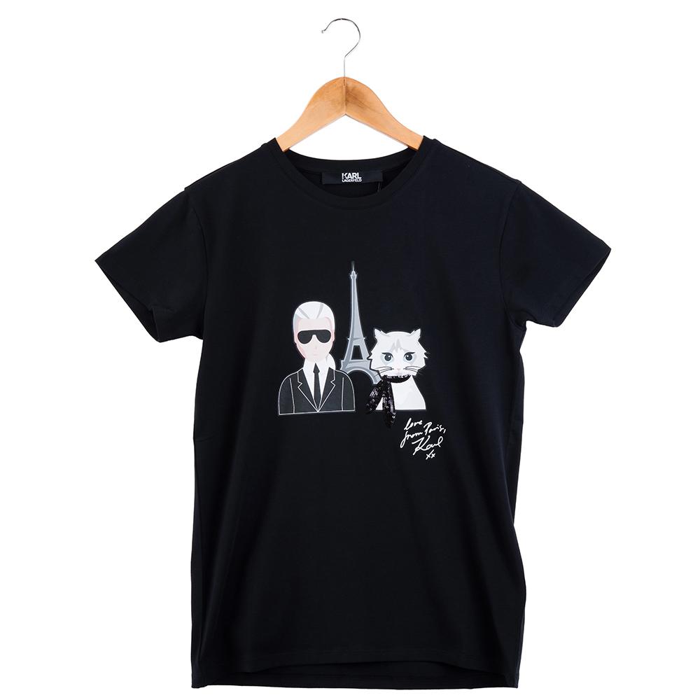 KARL LAGERFELD 卡爾貓咪艾菲爾鐵塔造型短T  (黑色)