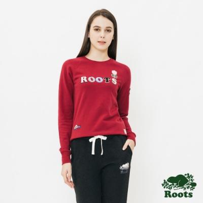 ROOTS女裝 立體貼布毛圈布圓領上衣 -紅