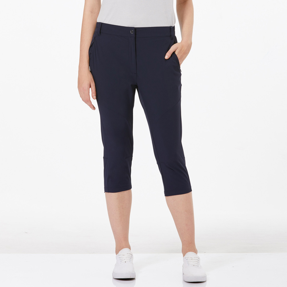 【HAKERS 哈克士】女 快乾彈性七分褲-海軍藍