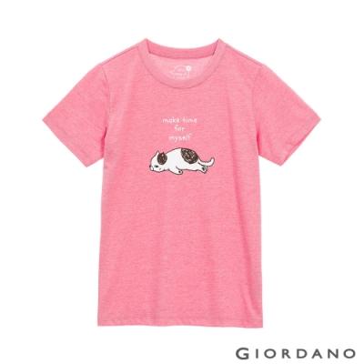 GIORDANO  女裝Stay Home印花T恤 - 68 雪花薔薇粉紅