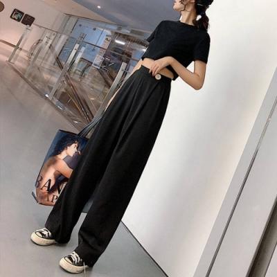 2F韓衣-簡約褲腰釦子裝飾修身寬褲-2色-(S-2XL)