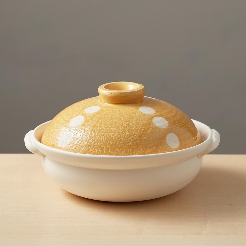 日本TAIKI太樹萬古燒 輕量土鍋8號-點點橘(1.6L)