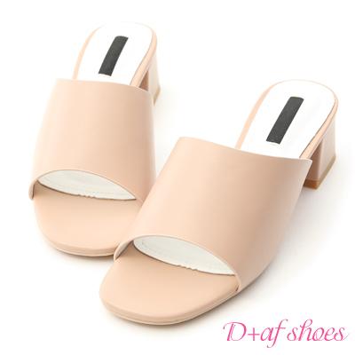 D+AF 韓風氣息.簡約一字寬版中跟涼拖鞋*粉