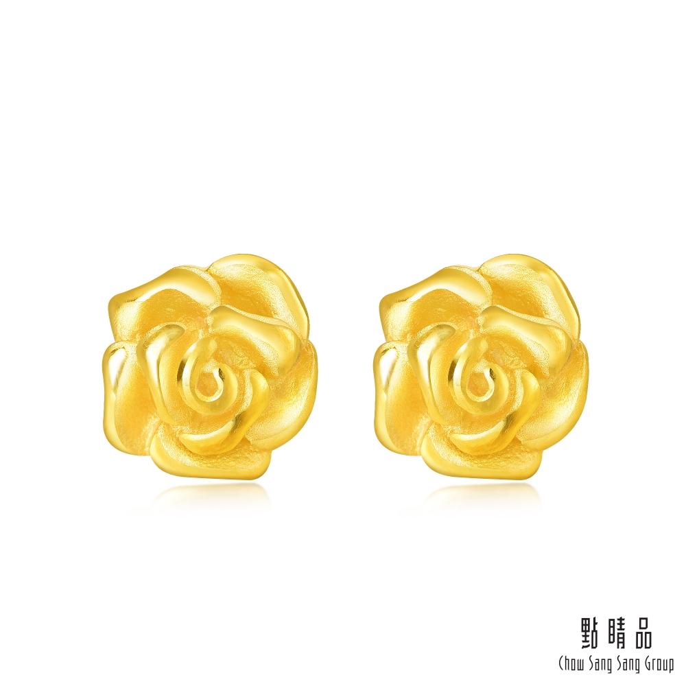 點睛品 玫瑰黃金耳環_計價黃金