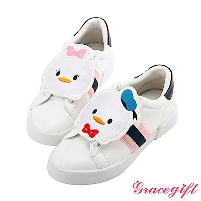 Disney collection by grace gift徽章撞色織帶休閒鞋深藍