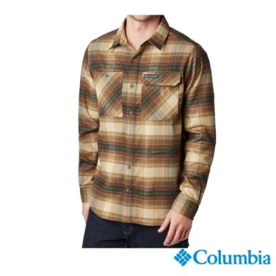 Columbia 哥倫比亞 男款-UPF50快排長袖襯衫-褐綠UAE02130