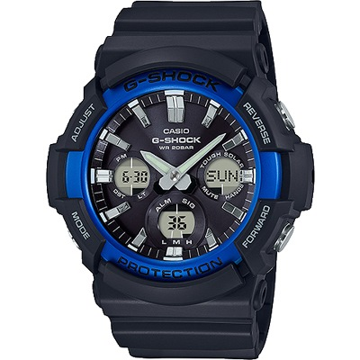 G-SHOCK 太陽能數位指針腕錶-黑X藍色框(GAS-100B-1A2)/52mm