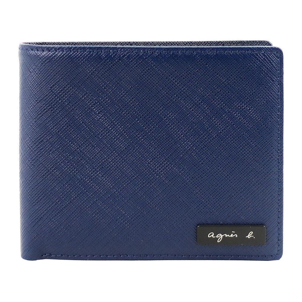 agnes b 鐵牌雙色防刮短夾(多卡夾/深藍)