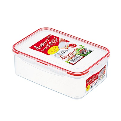 WAVA 日本inomata長方形多用途保鮮盒1300ml 紅(快)