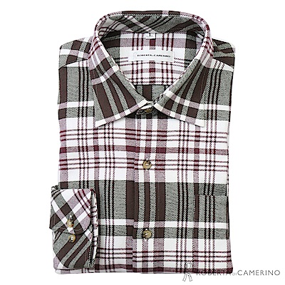 ROBERTA諾貝達 台灣製 進口素材 禦寒保暖 純棉格紋長袖厚襯衫 綠紅