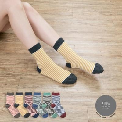 阿華有事嗎 韓國襪子 彩口細條紋中筒襪  韓妞必備長襪 正韓百搭純棉襪