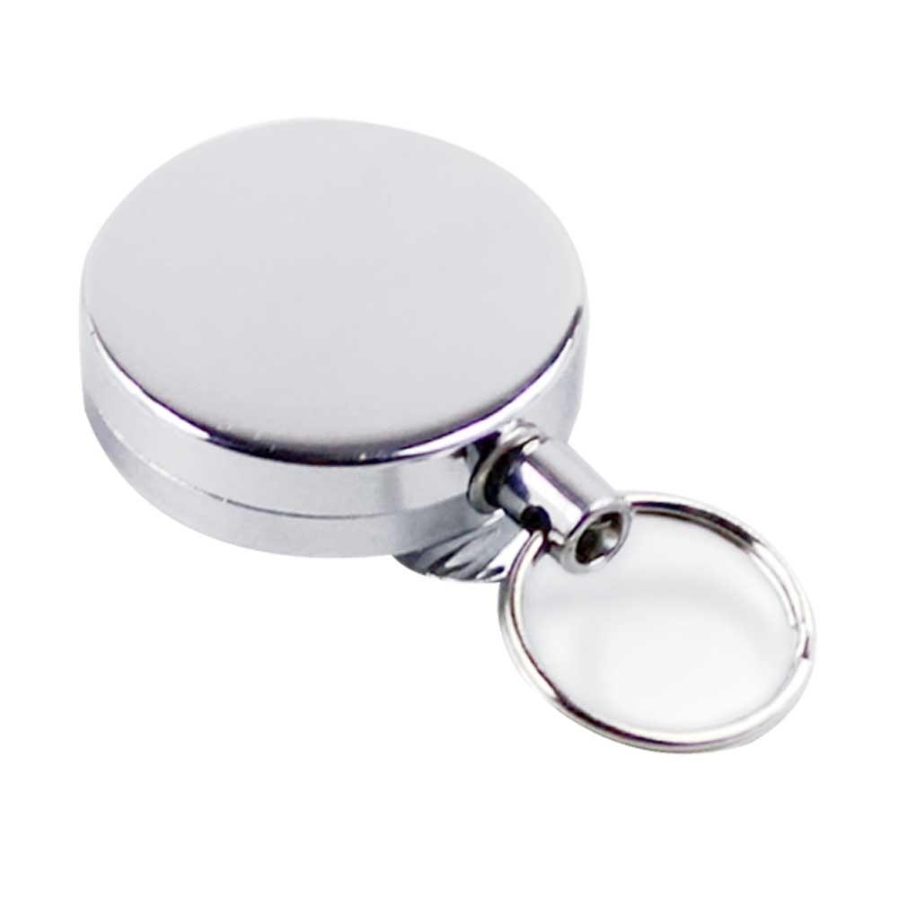 (直徑4cm)時尚銀 高彈力耐用 金屬伸縮鑰匙圈 識別證 悠遊卡 伸縮拉環(附背夾)