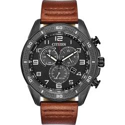 CITIZEN 星辰 Chronograph 光動能計時手錶-黑x咖啡/45mm