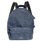 COACH單寧藍C Logo尼龍真皮壓底中款後背包